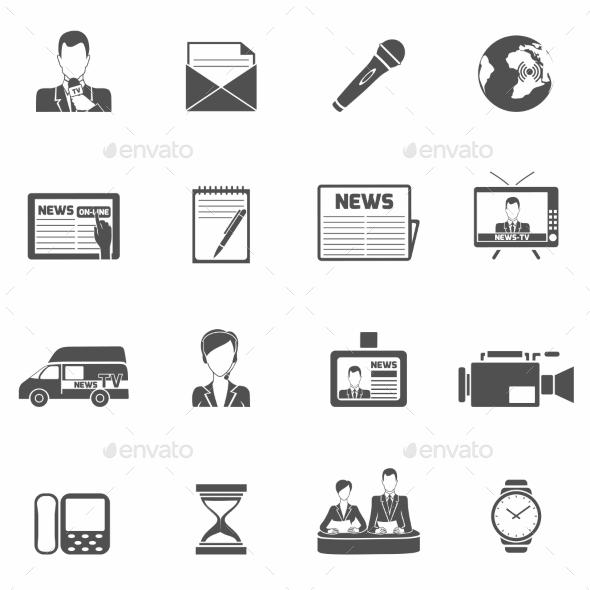 GraphicRiver News Icons Black 9059475