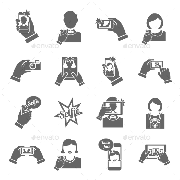 GraphicRiver Selfie Icons Black 9059479