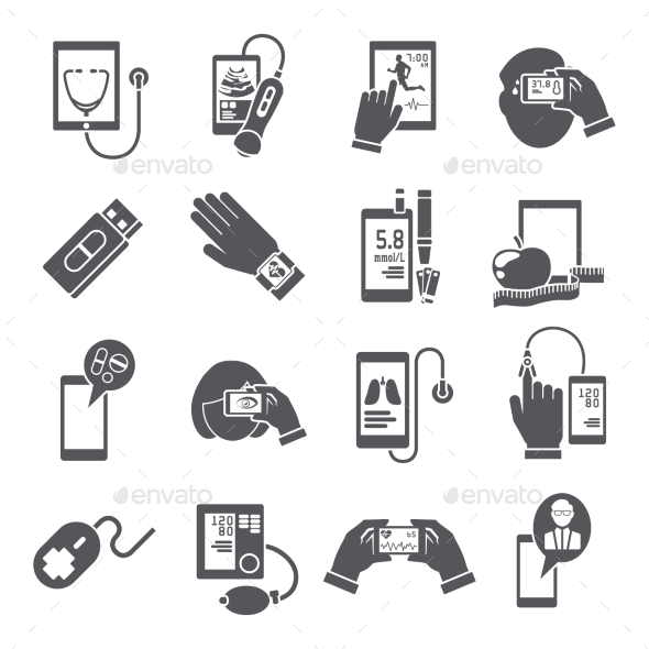 GraphicRiver Mobile Health Icons Set Black 9059480