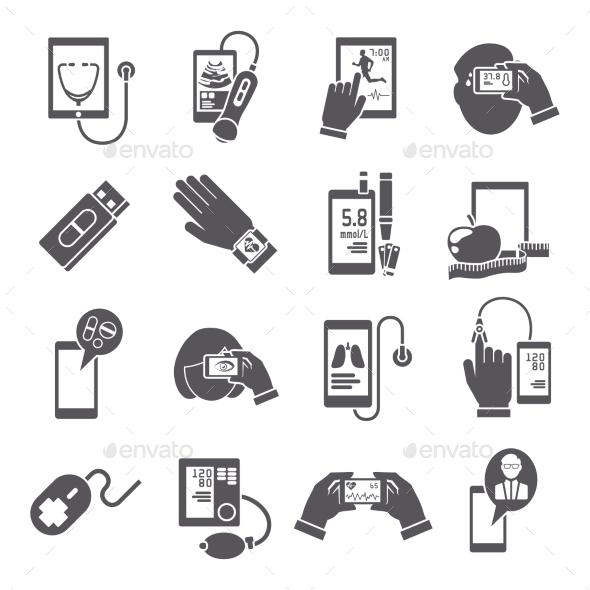 GraphicRiver Mobile Health Icons Set Black 9059480