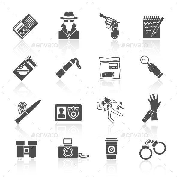 GraphicRiver Detective Icons Set Black 9059483