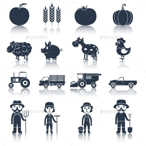 GraphicRiver Farm Icons Set Black 9059485
