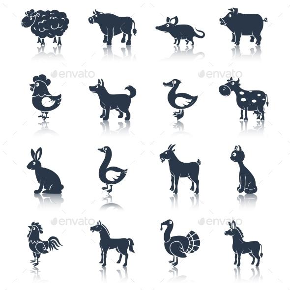 GraphicRiver Farm animals set black 9059490