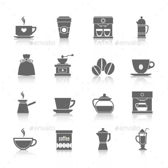 GraphicRiver Coffee Icons Black 9059492