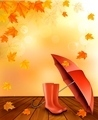 Autumn background with umbrella and rain boots.  - PhotoDune Item for Sale