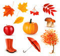 Set of autumn-themed objects. - PhotoDune Item for Sale