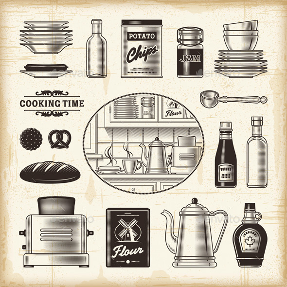 GraphicRiver Vintage Kitchen Set 9059549