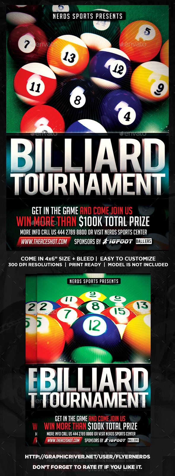 GraphicRiver Billiard Competition Sport Flyer 9059677