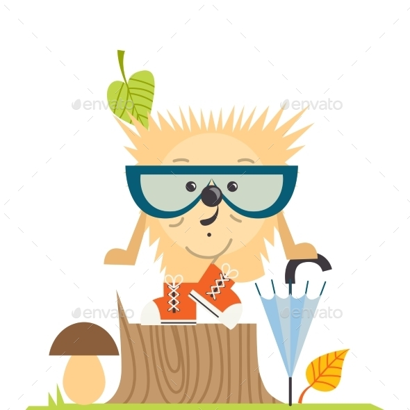 GraphicRiver Cartoon Hedgehog Hipster Style 9059793