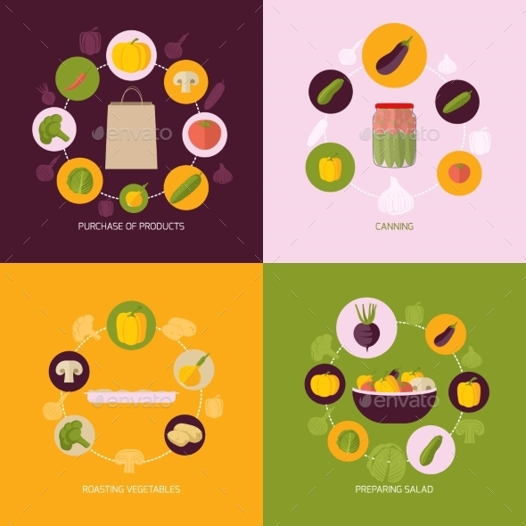 GraphicRiver Vegetables Icons Flat Set 9060112
