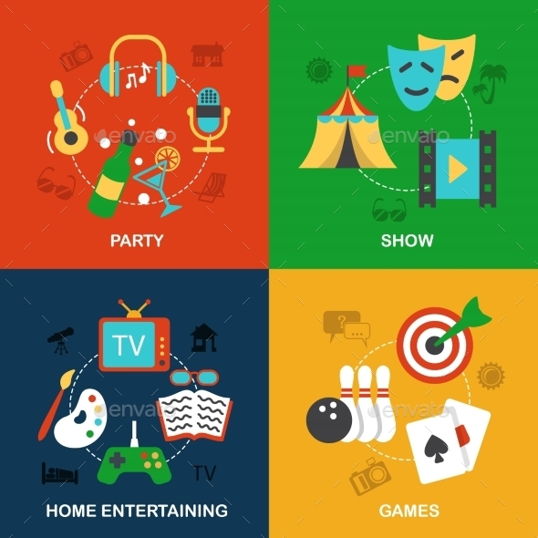 GraphicRiver Entertainments Icons Flat 9060114