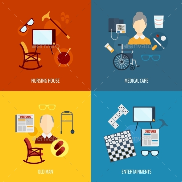 GraphicRiver Pensioners Life Icons Flat 9060118
