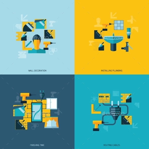 GraphicRiver Home Repair Icons Flat 9060121