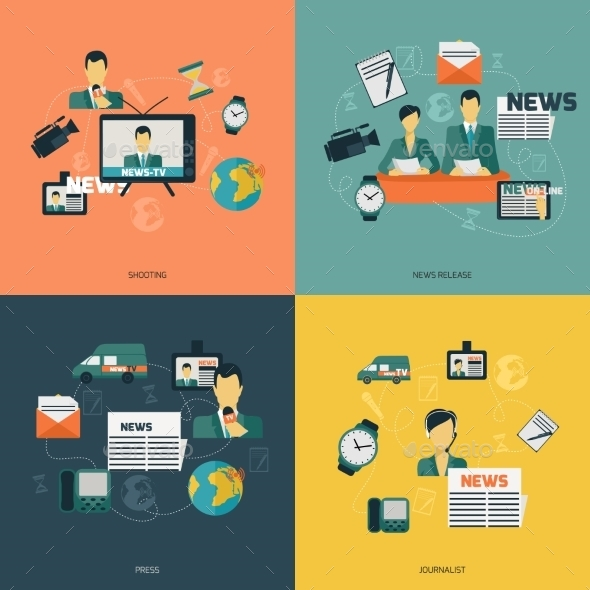 GraphicRiver News Icons Flat 9060124