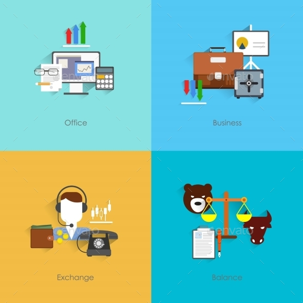 GraphicRiver Finance Exchange Icons Flat 9060130