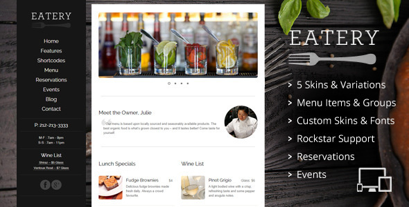 Eatery - Responsive Restaurant WordPress Theme - Restaurants & Cafes Entertainment