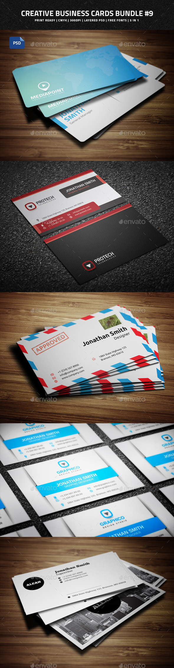GraphicRiver Creative Business Cards Bundle #9 9060621