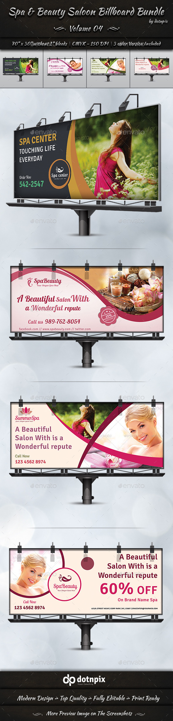 GraphicRiver Spa & Beauty Saloon Billboard Bundle Volume 4 9060771