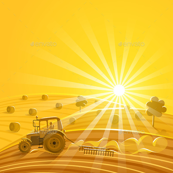 GraphicRiver Harvesting on the Sunny Background 9061065