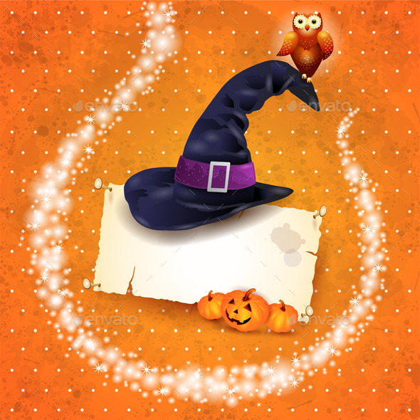 GraphicRiver Halloween Background with Sparkles and Hat 9054072