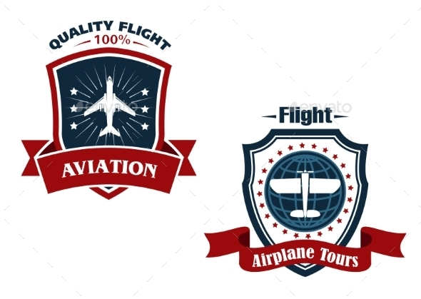 GraphicRiver Airplane Tours and Aviation Icons 9062746