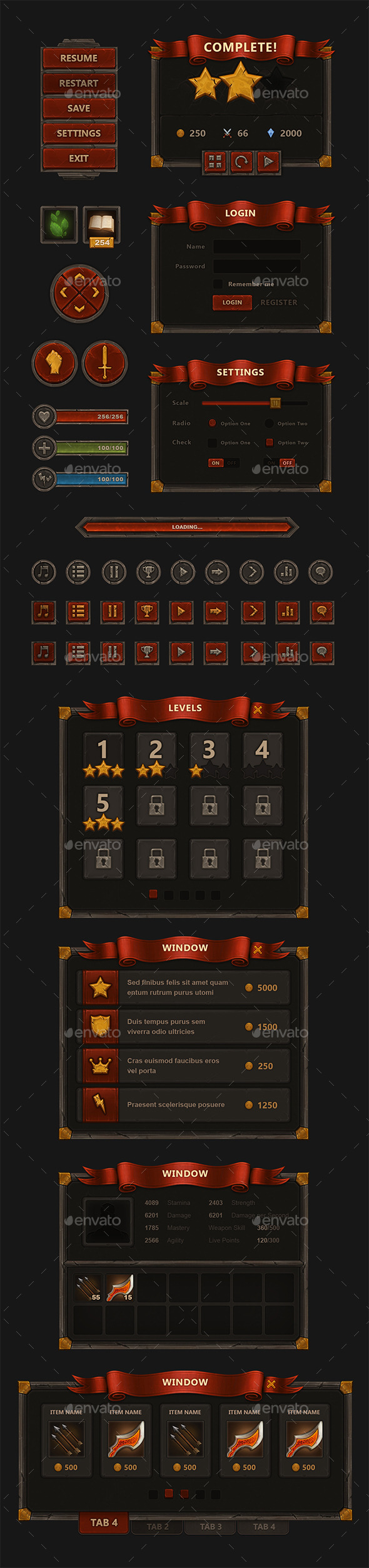GraphicRiver Fantasy Mobile Game Interface 9009432