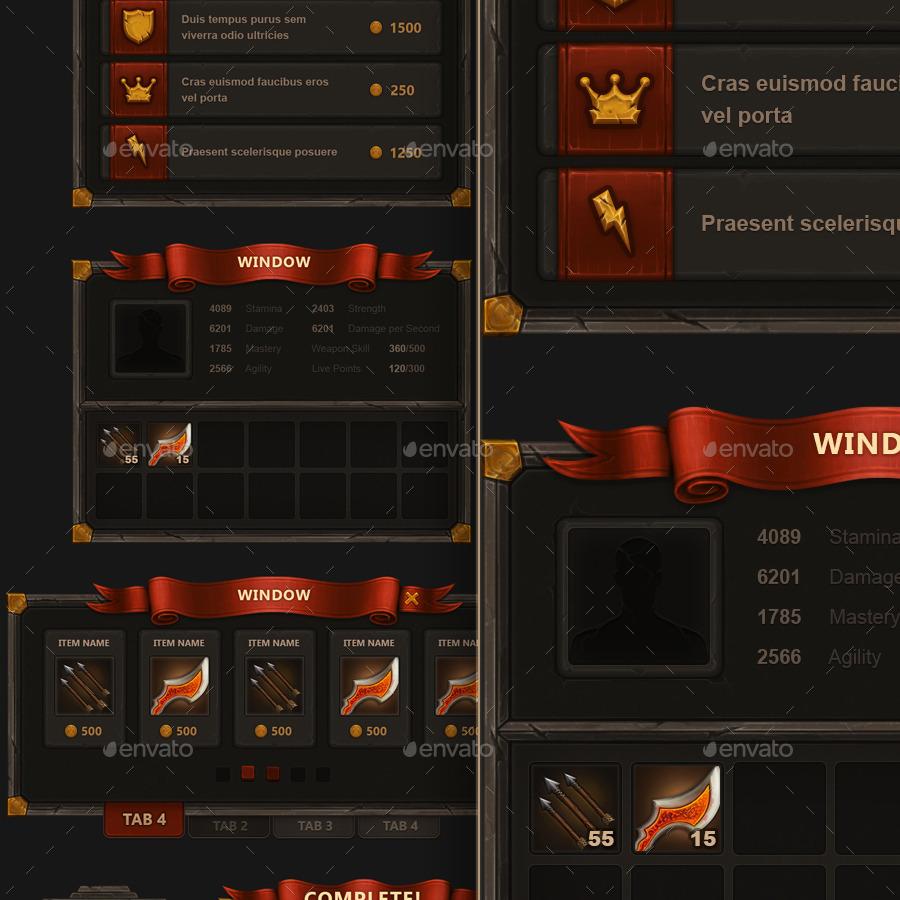 fantasy mobile game interface by kevil graphicriver. Black Bedroom Furniture Sets. Home Design Ideas