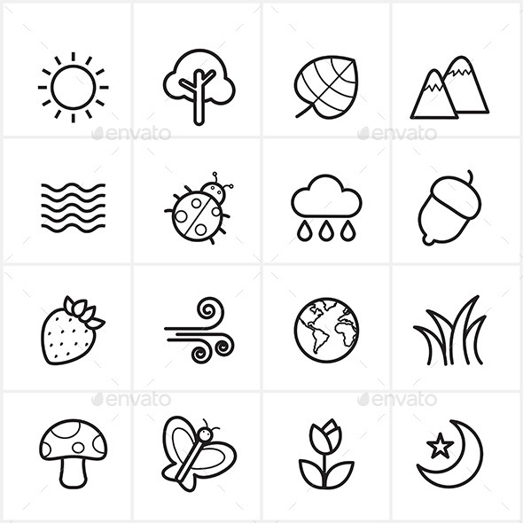 GraphicRiver Flat Line Icons Nature and Tree Icons Vector 9065331