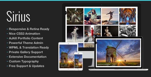 Sirius Responsive Portfolio Photography Theme - Photography Creative