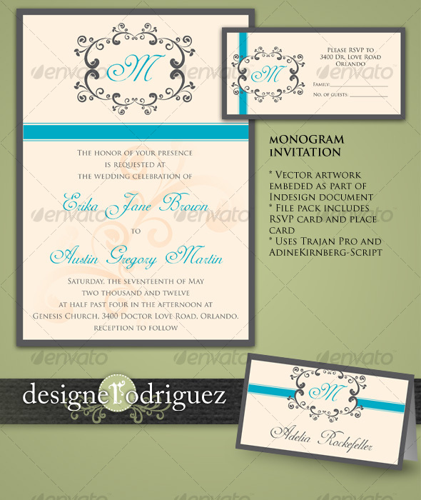 GraphicRiver Monogram Invitations in Teal 117279