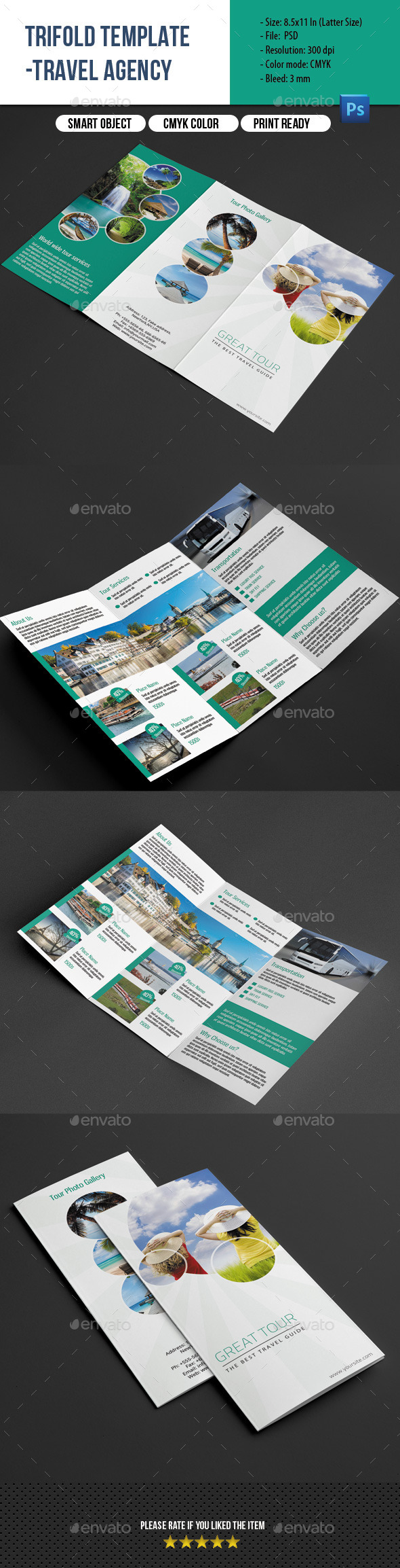 GraphicRiver Travel Agency Trifold Brochure 9066843