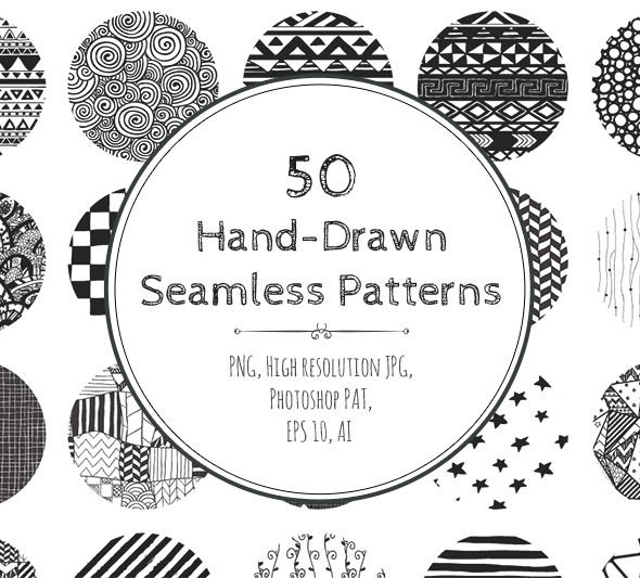 GraphicRiver 50 Hand-Drawn Seamless Patterns 9066957
