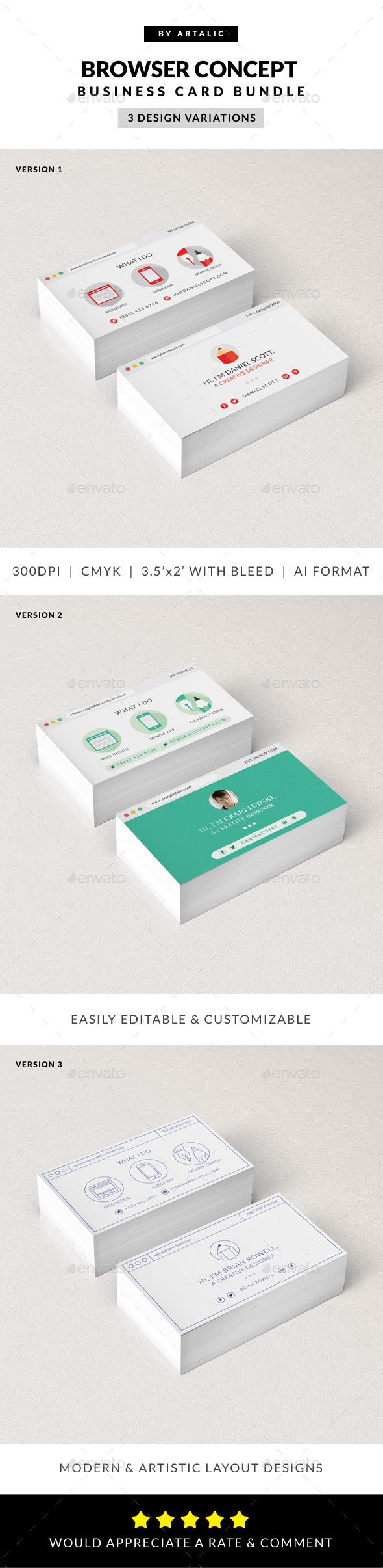 GraphicRiver Web Browser Business Card 3-in-1 Bundle 9067163