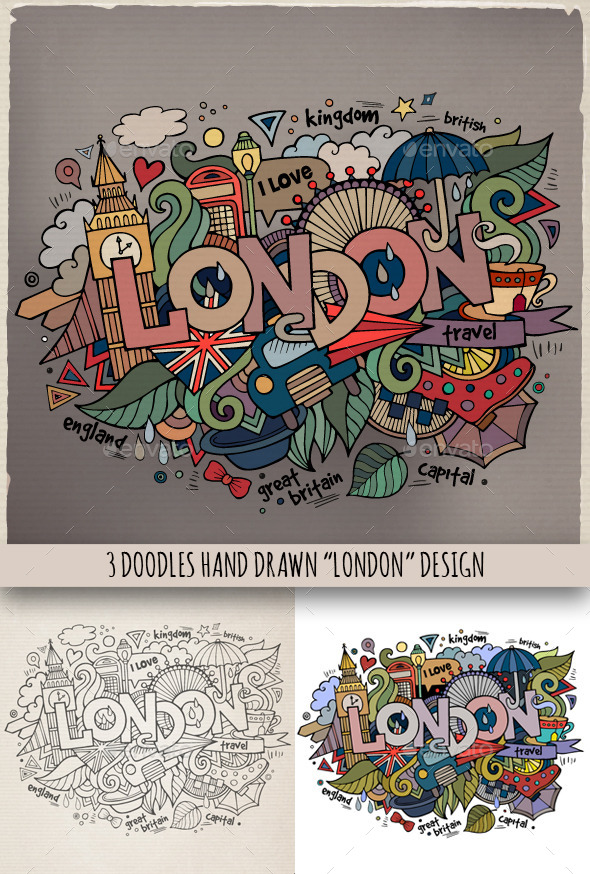 GraphicRiver London Doodles Designs 9067525
