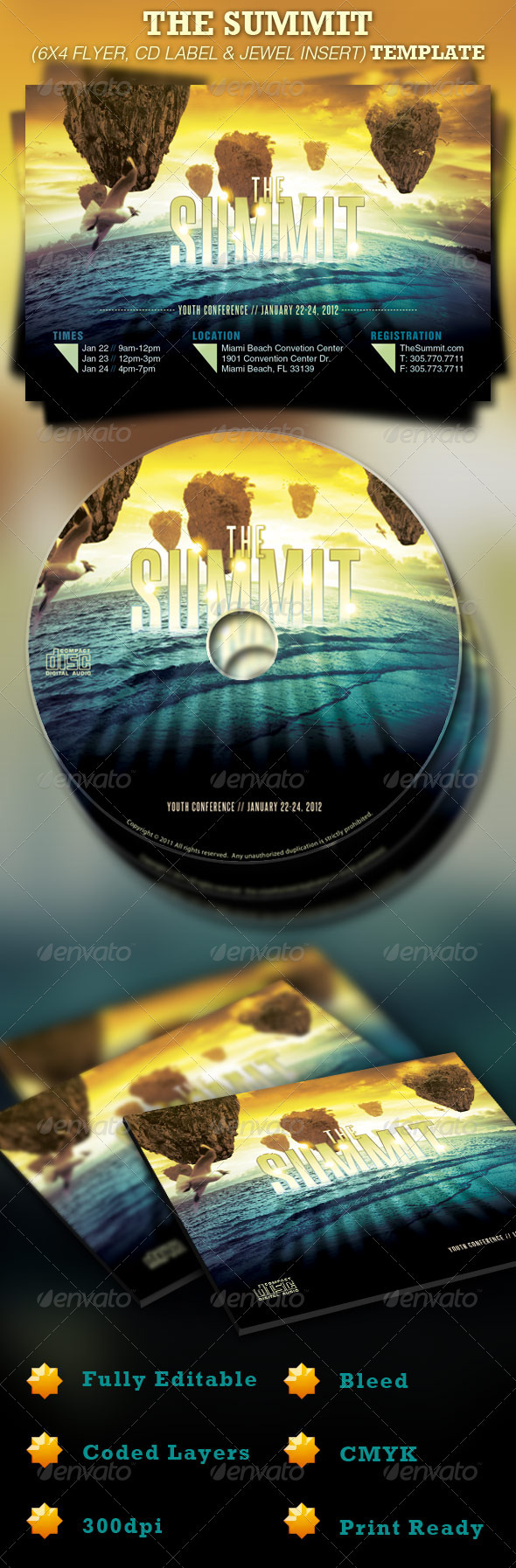 GraphicRiver The Summit Church 6x4 Flyer and CD Template 925630