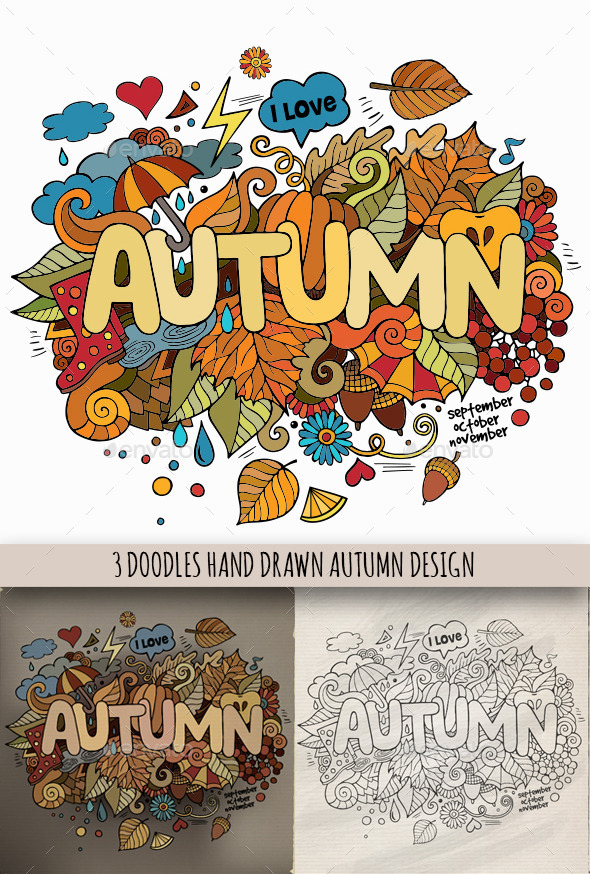 GraphicRiver 3 Autumn Doodles Designs 8993479