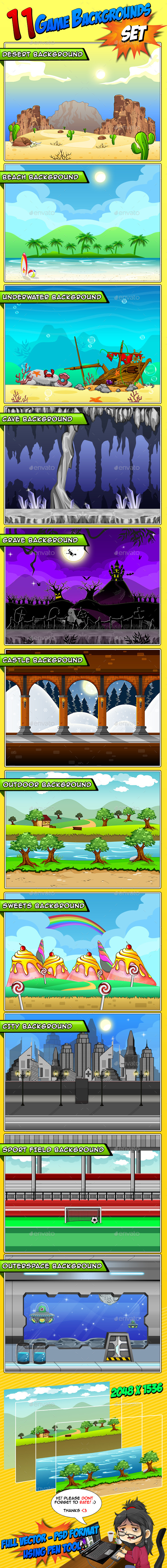 GraphicRiver 11 Set s Game Backgrounds 9021888
