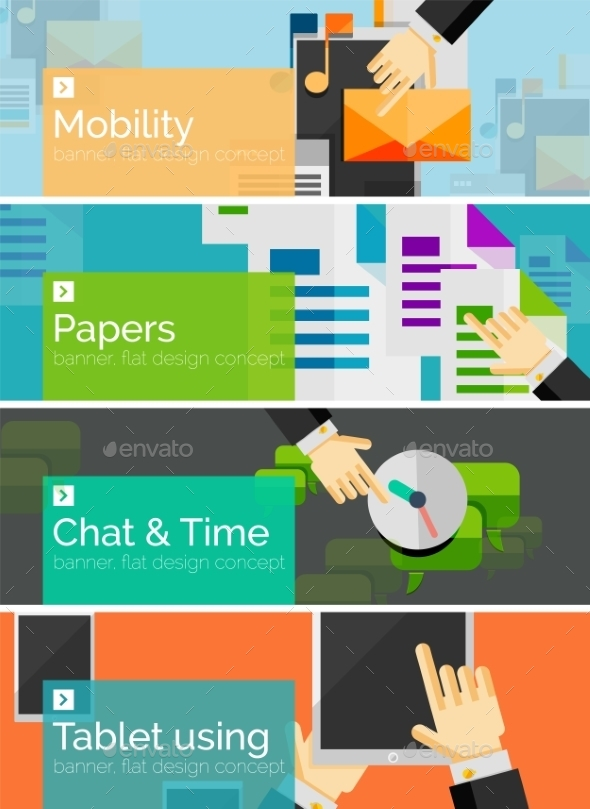 GraphicRiver Mobility Flat Design Banners 9068268
