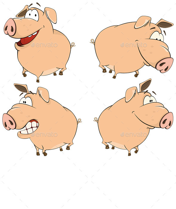 GraphicRiver Pig Cartoons 9068309