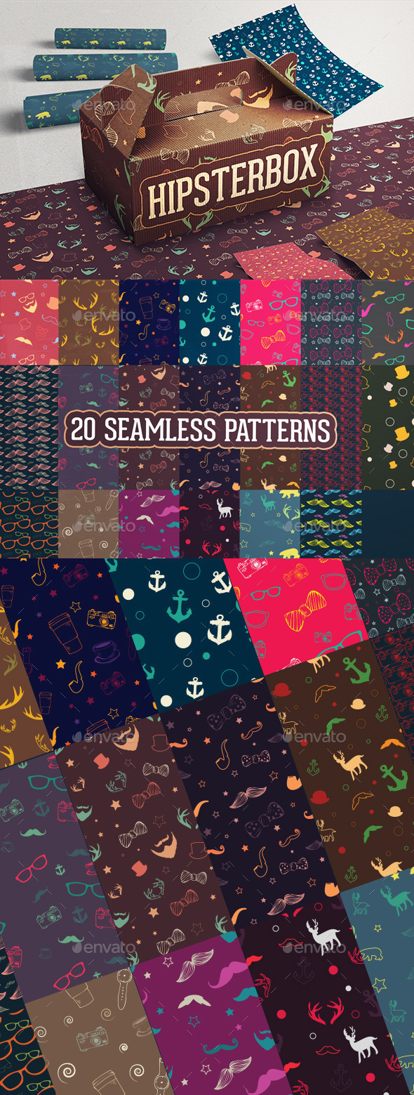 GraphicRiver HipsterBox Seamless Patterns 9058363