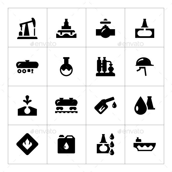 GraphicRiver Set Icons of Oil Industry 9068524