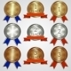 Set of Metallic Badges with Ribbons - GraphicRiver Item for Sale