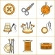 Collection of Needlework, Knitting, Sewing Icons