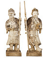 Two statues of ancient Chinese warriors isolated on white backgr - PhotoDune Item for Sale