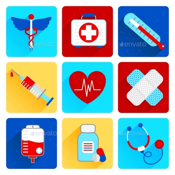 GraphicRiver Medical Flat Icons Set 9069992