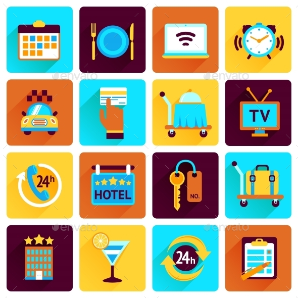 GraphicRiver Hotel Icons Flat Set 9069994