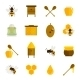 Bee Honey Icons Flat Set - GraphicRiver Item for Sale