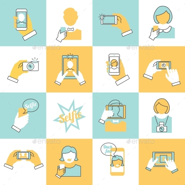 GraphicRiver Selfie Icons Flat Line 9070008