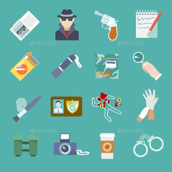 GraphicRiver Detective Icons Set 9070014