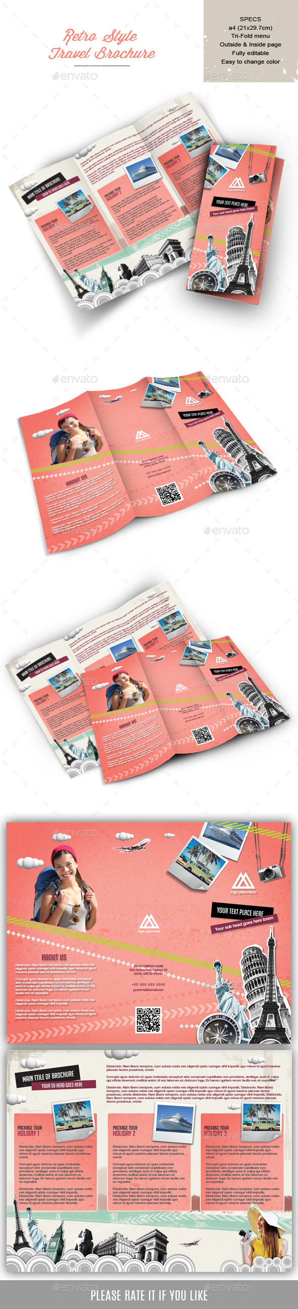 GraphicRiver Retro Style brochure for Travel Company 9070021